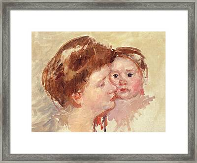 Mother In Profile With Baby Cheek To Cheek Framed Print by Mary Stevenson Cassatt