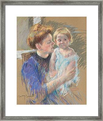 Mother In Purple Holding Her Child Framed Print by Mary Stevenson Cassatt