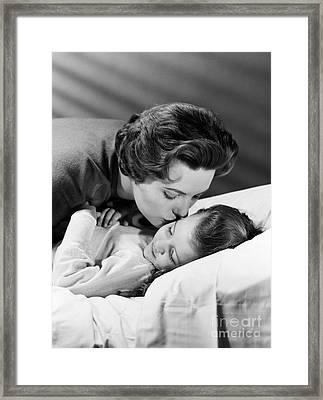 Mother Kissing Girl Goodnight, C.1950s Framed Print