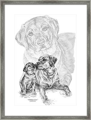 Mother Labrador Dog And Puppy Framed Print