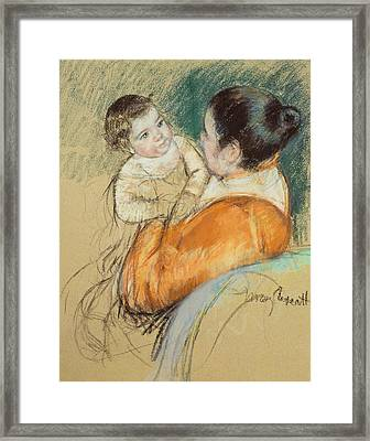Mother Louise Holding Up Her Blue Eyed Child Framed Print