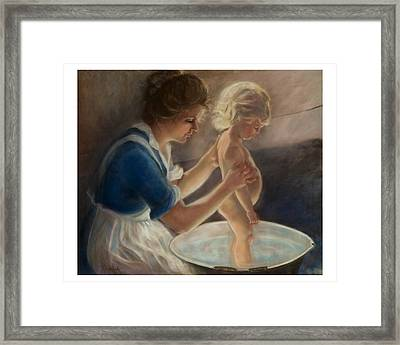 Mother Love-the Bath Framed Print by Pamela Mccabe