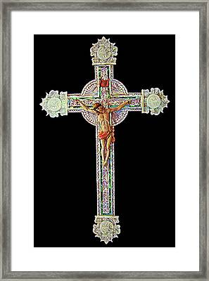 Mother Of Pearl Cross Framed Print by Munir Alawi
