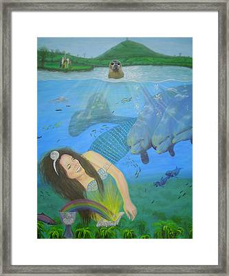 Mother Of Water Goddess Domnu - Summer Solstice Framed Print