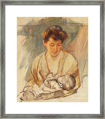 Mother Rose Looking Down At Her Sleeping Baby Framed Print by Mary Stevenson Cassatt