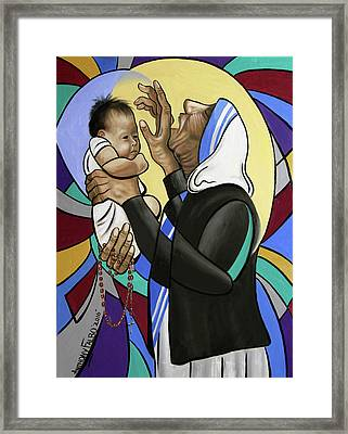 Mother Teresa, A Prayer From The Heart Framed Print by Anthony Falbo