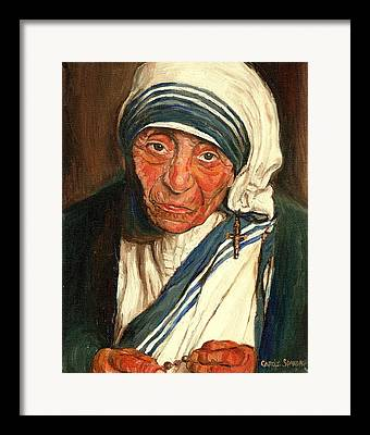 Portrait Of Mother Theresa Framed Prints