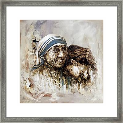 Framed Print featuring the painting Mother Teresa  by Gull G