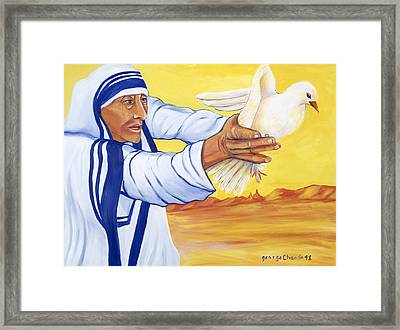 Mother Teresa In New Mexico Framed Print by George Chacon