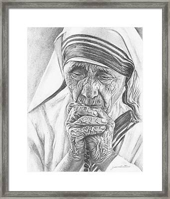 Mother Teresa Framed Print by Jeanne Beutler
