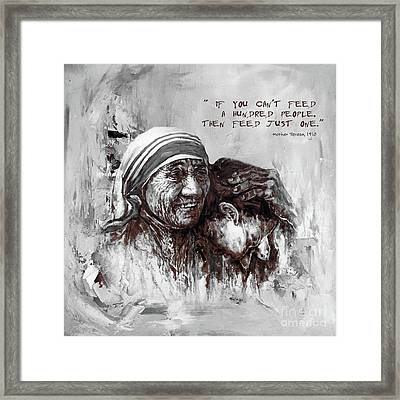 Framed Print featuring the painting Mother Teresa Of Calcutta Portrait  by Gull G