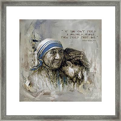 Framed Print featuring the painting Mother Teresa Portrait  by Gull G