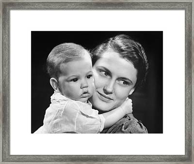Mother With Baby Girl (9-12 Months) Posing In Studio, (b&w), Portrait Framed Print by George Marks