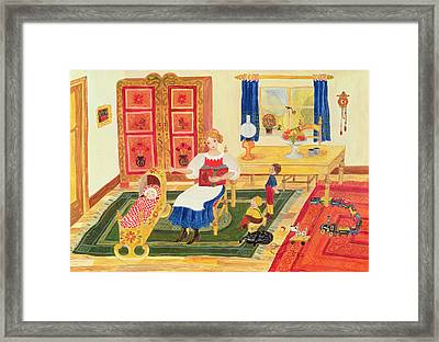 Mother With Children Framed Print by Ditz