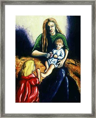 Mother With Children Framed Print by Helen O Hara