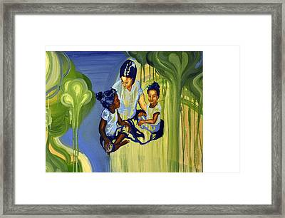 Mother With Daughters Framed Print by Leah Richter