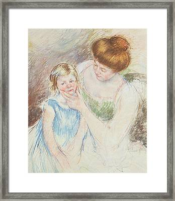 Mother With Left Hand Holding Sara's Chin  Framed Print