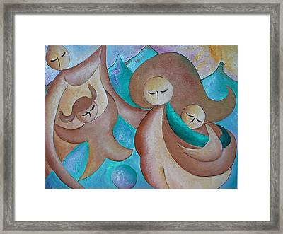 Motherhood Family Oil Painting Us Today Original By Gioia Albano Framed Print by Gioia Albano