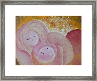 Motherhood Oil Painting Sweet Sleeping Original By Gioia Albano Framed Print by Gioia Albano