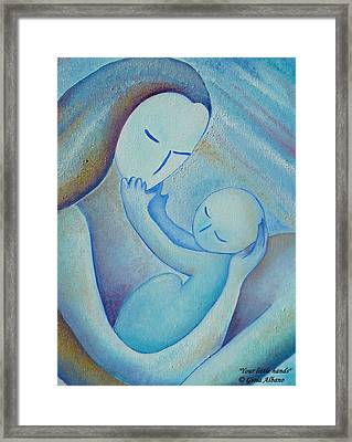 Motherhood Oil Painting Your Little Hands By Gioia Albano Framed Print by Gioia Albano