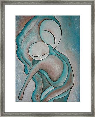 Motherhood Painting My Baby Original Oil By Gioia Albano Framed Print by Gioia Albano