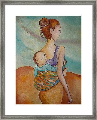 Motherhood Painting Walking With You Original Oil By Gioia Albano Framed Print by Gioia Albano