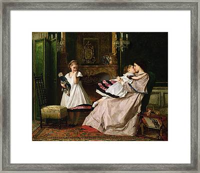 Motherly Love Framed Print by Gustave Leonard de Jonghe