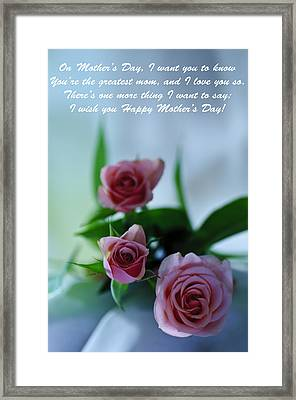 Framed Print featuring the photograph Mother's Day Card 1 by Michael Cummings