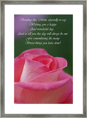 Framed Print featuring the photograph Mother's Day Card 3 by Michael Cummings