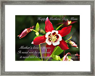 Mothers Love Framed Print by Nancy E Stein