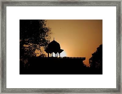 Moti Masjid At Sunset Framed Print by Aidan Moran