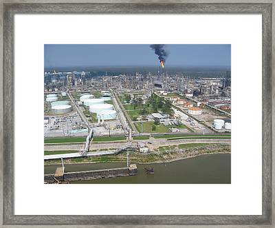 Motiva Petroleum Refinery Is Located Framed Print by Everett
