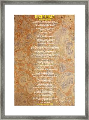 Motivational - Desiderata - Pearls Of Wisdom Framed Print by Celestial Images