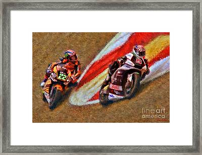Moto2 Johann Zarco Leads Sam Lowes Framed Print