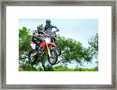 Framed Print featuring the photograph Motocross Battle by David Morefield