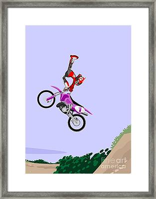 Motocross Rider Dressed In Red And Black Performing A Somersault On A Dirt Track Framed Print