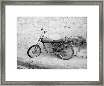 Motor Bike With Flat Tire Framed Print