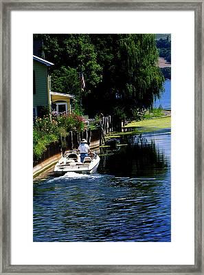 Motor Boat On Canal Framed Print