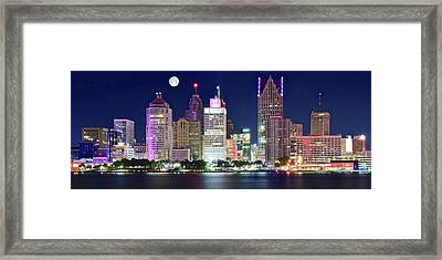 Framed Print featuring the photograph Motor City Night With Full Moon by Frozen in Time Fine Art Photography