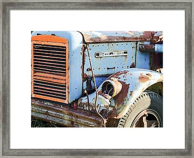 Motor Company White Diesel Truck Framed Print by Nick Mares