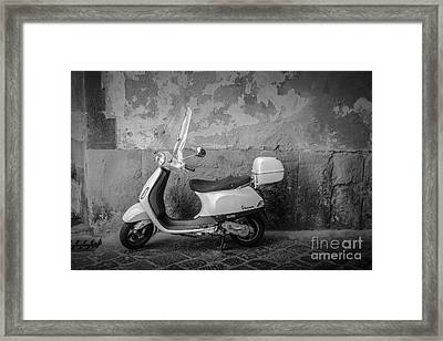Motor Scooter In Italy Framed Print by Edward Fielding