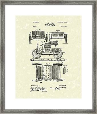 Motor Vehicle 1901 Patent Art Framed Print by Prior Art Design