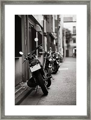 Motorbikes Parked On Street In Tokyo, Japan Framed Print by photo by Jason Weddington