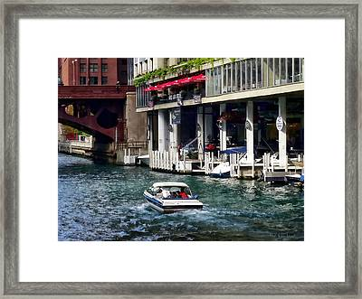Motorboat Near Dearborn Street Bridge Framed Print by Susan Savad