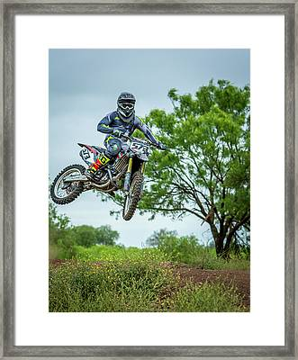 Framed Print featuring the photograph Motocross Aerial by David Morefield