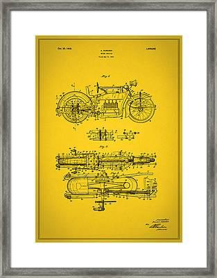 Motorcycle Design Patent 1928 Framed Print