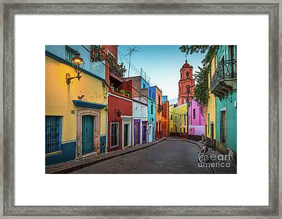 Motorcycle In Guanajuato Framed Print by Inge Johnsson