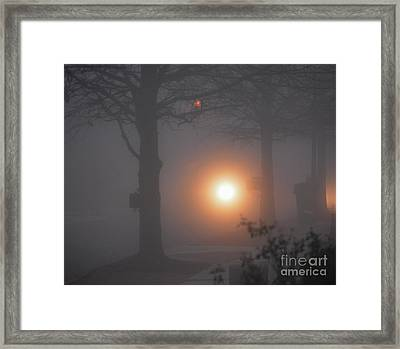 Motorcycle In The Fog In Loganville Georgia Framed Print
