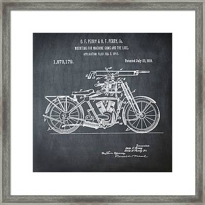 Motorcycle Machine Gun Patent 1918 In Chalk Framed Print by Bill Cannon