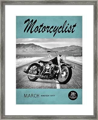 Motorcycle Magazine Harley 1950 Framed Print